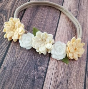 Felt Floral Headband Halo in Yellow and White